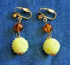 Elegant Honey & Lemon Acrylic Drop Gold-tone Clip Earrings 1960s vintage... - $12.30