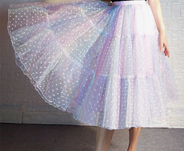 Women Girl Rainbow Long Tulle Skirt Polka Dot Rainbow Skirt Holiday Skirt Outfit image 4