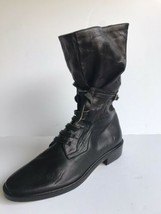 Anne Klein Womens Labmskin Leather Lace Up Mid Calf Boots Bootie sz 7M Black - $43.70