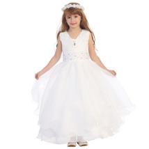 White Ruffle Satin Bodice Hand Sewn Rhinestone Satin Bolero Flower Girl ... - $54.00+