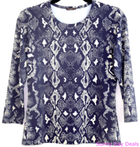 J McLaughlin Womens Top Snakeskin 3/4 Sleeve Crew Pullover Gray Travel T... - $32.62