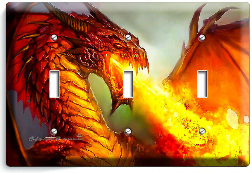 MYSTICAL FIRE BREATHING RED DRAGON 3 GANG LIGHT SWITCH WALL PLATES ROOM HD DECOR