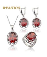 WPAITKYS Red Stones Cubic Zirconia Silver Color Bridal Jewelry Sets Earr... - $27.96