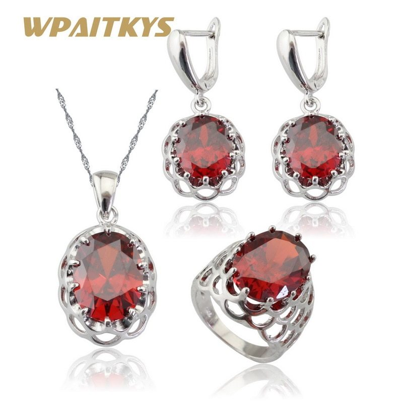 Primary image for WPAITKYS Red Stones Cubic Zirconia Silver Color Bridal Jewelry Sets Earrings/Pen