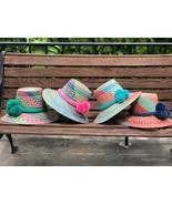 MULTICOLORS Wayuu Hat Straw Pompom Hat Sun hat Panana Hat PALM BEACH HAT... - $75.00