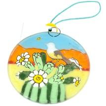 Desert Sunset & Cactus Design Fused Art Glass Ornament Handmade in Ecuador image 2