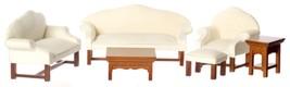 Dollhouse Miniature White Living Room Set, 6 pc, Walnut Finish #T6794 - $81.84
