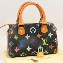LOUIS VUITTON Monogram Multicolor Mini Speedy Hand Bag Black M92644 Auth 7989 - $1,480.00