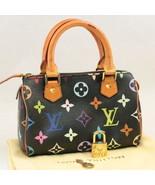 LOUIS VUITTON Monogram Multicolor Mini Speedy Hand Bag Black M92644 Auth... - $1,480.00