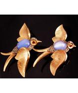 Crown Trifari duette brooch Blue birds - jelly belly pins set - somethin... - $975.00