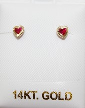 Red Heart with Cubic Zirconia 4mm 14k Solid Yellow Screw Back Earrings R... - $29.88