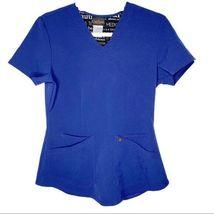 Careisma by Sofia Vergara Navy Scrub V-Neck Solid Blue Top Size Small CA... - $34.64