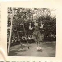 Vintage Antique Photograph Adorable Little Girl Sitting on Swing in Yard... - $6.93