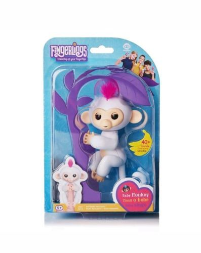 Authentic WowWee Fingerlings Sophie White w/ Pink Hair Interactive Baby Monkey