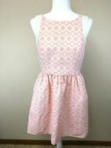 Jessica Simpson 10 Coral Peach White Woven Diamond Dress Pockets Pleated... - $18.99