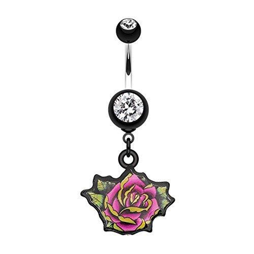 Primary image for Retro Tattooed Rose WildKlass Belly Button Ring