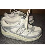 Sketchers Shape Ups 8.5 White Silver Leather Mesh Walking Toning Sneaker... - $66.45