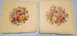 Vintage Set of Two Tapestry Needlepoint Floral Flowers Padded Chair Seat... - $84.15