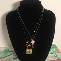 NWT $55 BETSEY JOHNSON Lock & Key Pearl Charm Layered Necklace - $54.99