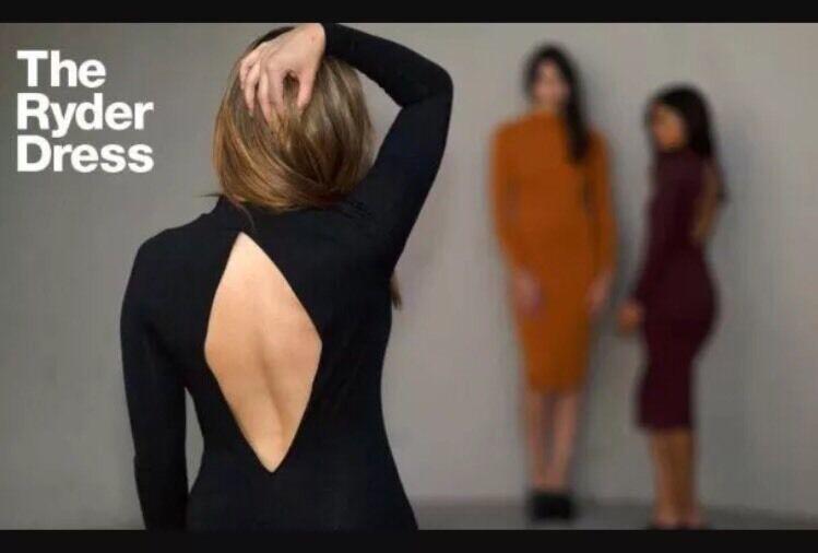 American Apparel Ryder Midi Dress Mock Neck Open Back Truffle Burgundy XS image 6