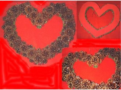 """14"""" HEART WREATH of Cones and Ribbon Roses"""