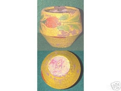 Shabby PAINTED CLAY POT - RED/GREEN ON YELLOW