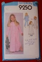 Simplicity 9250 Child's Nightgown Pajamas & Robe Size 6