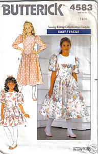 Butterick 4583 GIRLS One-piece DRESS Size 7 - 8 - 10