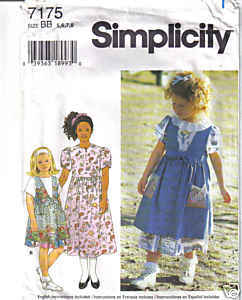 Simplicity 7175 GIRLS Jumper Dress Size BB ( 5 - 8 )
