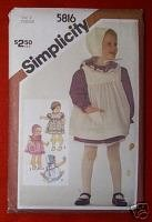 Simplicity 5816 TODDLERS Dress Sundress, Hat Size 2