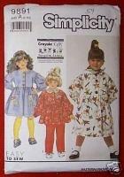 Simplicity 9891 GIRLS Dress, Top, & Pants w/Scarf Sz A