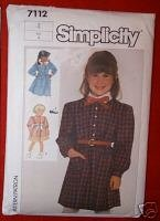 Simplicity 7112 Childs Dress w/Sleeves Two Lengths Sz 4