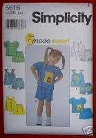 Simplicity 5616 Toddlers Tops & Shorts Size BB (2,3,4)