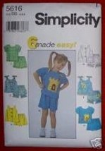 Simplicity 5616 Toddlers Tops & Shorts Size BB (2,3,4) - $2.50