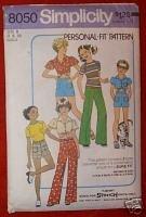 Simplicity 8050 GIRLS Pants Shorts T-Shirt Sz B 8 & 10