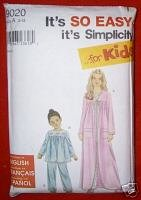 Simplicity 9020 Girls Robe & Pajamas Size A (3 ? 12)