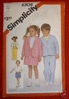 Simplicity 6308 Child?s Pants Shorts Skirt Jacket Sz 3
