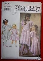 Simplicity 7081Child's Dress w/Trim Variations Size A