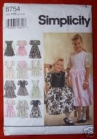 Simplicity 8754 Dress in Two Lengths Size HH (3,4,5,6)