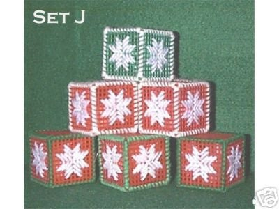 Handcrafted Ornaments - Set of 6 Plastic Canvas & Yarn