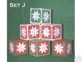Handcrafted Ornaments - Set of 6 Plastic Canvas & Yarn - $4.75
