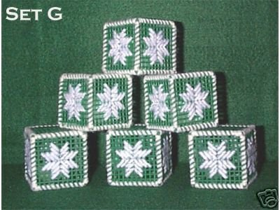 Set of 6 Handcrafted Ornaments - Plastic Canvas & Yarn