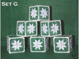 Set of 6 Handcrafted Ornaments - Plastic Canvas & Yarn - $4.75