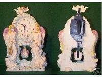 Standing Angels Mantel CLOCK Cherubs in Soft Pastels