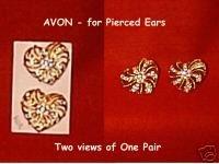 Goldtone Hearts w/Rhinestones for Pierced Ears by AVON