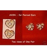 Goldtone Hearts w/Rhinestones for Pierced Ears by AVON - $12.49