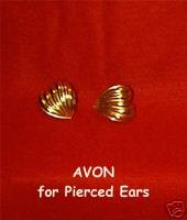 AVON Goldtone Heart Earrings w/Raised Surface Ridges