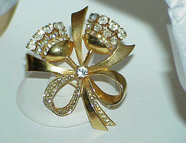Coro Sterling Silver Bow Brooch Pin Gold Vermeil Double Flower Rhinestones 40s - $277.19