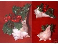 Couch Shell Pine Cone Holly Ribbon Holiday Arrangement