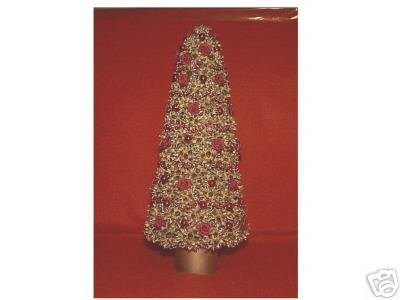 Gold TableTop Tree - Gum Pod Red Ribbon Roses & Beads